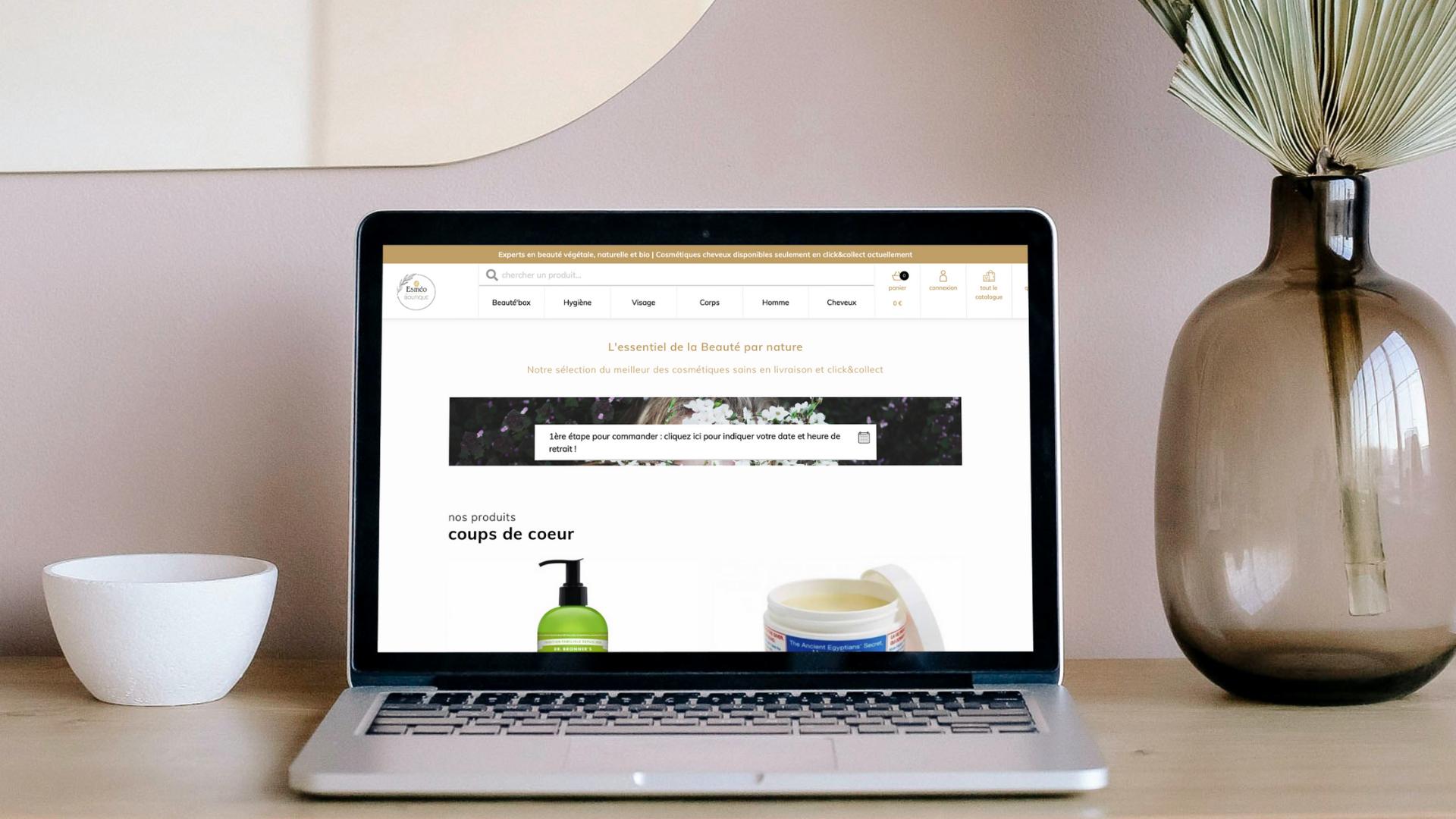 La boutique en ligne de cométiques naturels Esméo